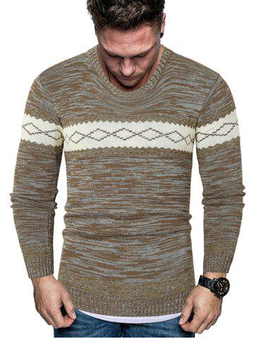 Rhombus Graphic Crew Neck Heather Knit Sweater