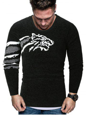 Tiger Graphic Crew Neck Chenille Sweater