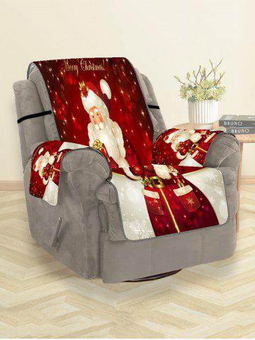 Christmas Santa Claus Gifts Greeting Pattern Couch Cover - RED WINE - SINGLE SEAT