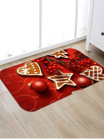 Christmas Balls Heart Biscuit Pattern Water Absorption Area Rug - LAVA RED - W16 X L24 INCH
