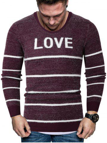 Letter Striped Crew Neck Fuzzy Sweater - RED - 2XL