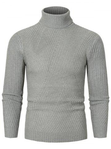 Solid Color Turtleneck Slant Ribbed Sweater - GRAY - 2XL