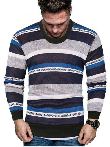 Color-blocking Striped Crew Neck Fleece Sweater - BLUE - M