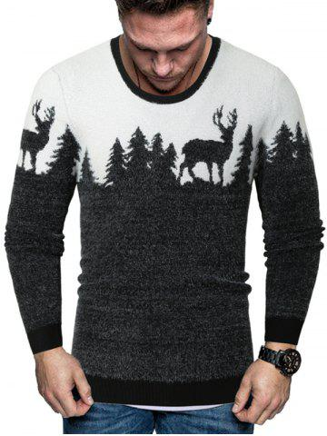 Christmas Elk Graphic Crew Neck Fuzzy Sweater