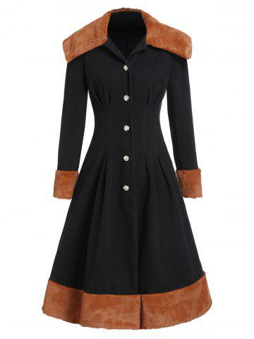 Faux Fur Insert Button Up Wool Blend Skirted Coat