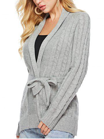 Cable Knit Solid Color Belted Cardigan