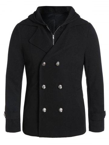 Double Breasted Hooded Faux Twinset Wool Blend Coat