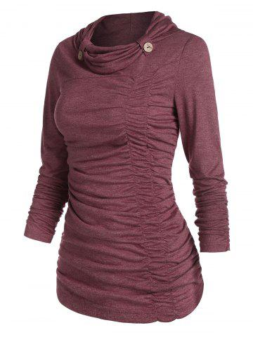 Cowl Neck Ruched Front Heathered T-shirt