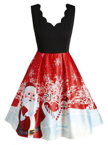 Plus Size Christmas Printed Scalloped Vintage Party Dress - RED - 4X