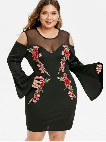 Plus Size Mesh See Thru Applique Flare Sleeve Bodycon Dress