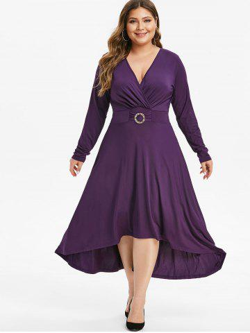 Long Sleeve Rhinestone O Ring High Low Plus Size Dress