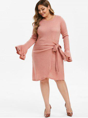 Plus Size Knotted Asymmetric Sweater Dress