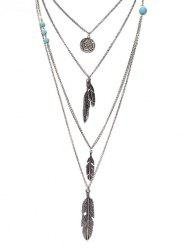 Artificial Turquoise Feather Layered Pendant Necklace -