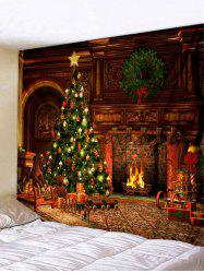 Christmas Tree Fireplace Print Tapestry Wall Hanging Art -