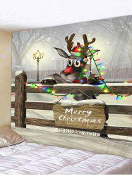 Christmas Elk Greeting Print Tapestry Wall Hanging Art Decoration -