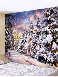 Christmas Tree Castle Street Print Tapestry Wall Hanging Art Decoration -