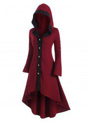 Plus Size Hooded High Low Flare Sleeve Dovetail Long Cardigan -
