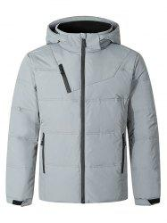 Solid Color Front Zip Hooded Puffer Jacket -