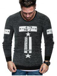 Letter Star Graphic Fuzzy Crew Neck Sweater -