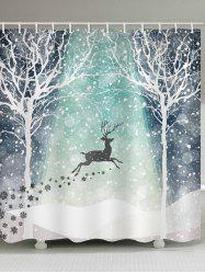 Christmas Snowflake Deer Waterproof Shower Curtain -