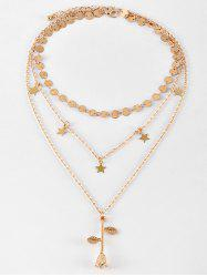 Sequin Star Rose Flower Pendant Layered Necklace -