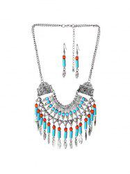 Bohemian Fringe Carved Statement Necklace Earrings Set -