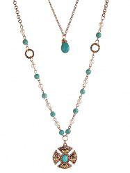 Bohemian Artificial Turquoise Layered Necklace -
