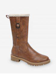 Solid Color Buckle Decoration Casual Boots -