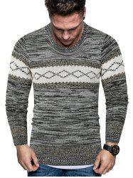 Rhombus Graphic Crew Neck Heather Knit Sweater -