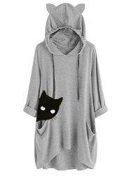 Heathered Cat Graphic Knit Hoodie -
