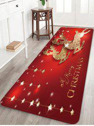 Christmas Elk Stars Greeting Pattern Water Absorption Area Rug -