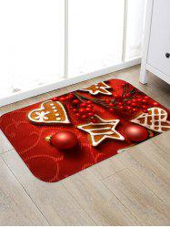 Christmas Balls Heart Biscuit Pattern Water Absorption Area Rug -
