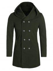 Hooded Back Slit Double Breasted Wool Blend Coat -