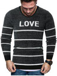 Letter Striped Crew Neck Fuzzy Sweater -