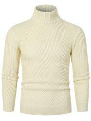 Solid Color Turtleneck Slant Ribbed Sweater -