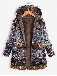 Hooded Floral Faux Shearling Lining Coat -
