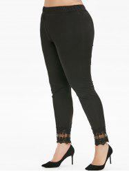 Plus Size Flower Lace Insert High Waisted Skinny Leggings -