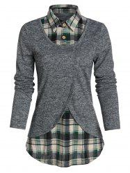 Plaid Print Curved Hem Faux Twinset Sweater -
