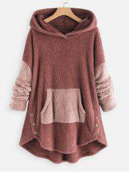 Faux Shearling Two Tone High Low Hoodie -