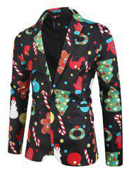 Christmas Tree Cartoon Pattern Button Blazer -
