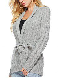 Cable Knit Solid Color Belted Cardigan -