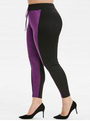 Plus Size Knotted Front Contrast Tapered Leggings -