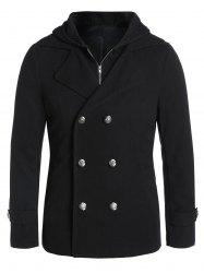 Double Breasted Hooded Faux Twinset Wool Blend Coat -