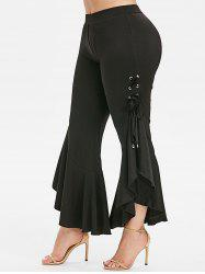 Plus Size Lace Up Bell Bottom Pants -