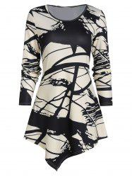 Abstract Paint Pattern Long Sleeve Longline T Shirt -