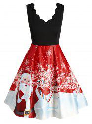 Plus Size Christmas Printed Scalloped Vintage Party Dress -