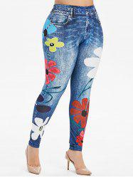 Plus Size High Rise Floral Skinny Jeggings -