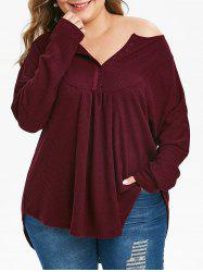 Plus Size Half Placket Curved Long Sleeve Knit Tee -