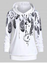 Ethnic Feather Print Lounge Hoodie -