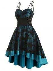 Plus Size Butterfly High Low Lace Up Cocktail Dress -